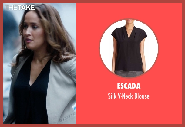 Escada black blouse from Rosewood seen with Det. Annalise Villa (Jaina Lee Ortiz)