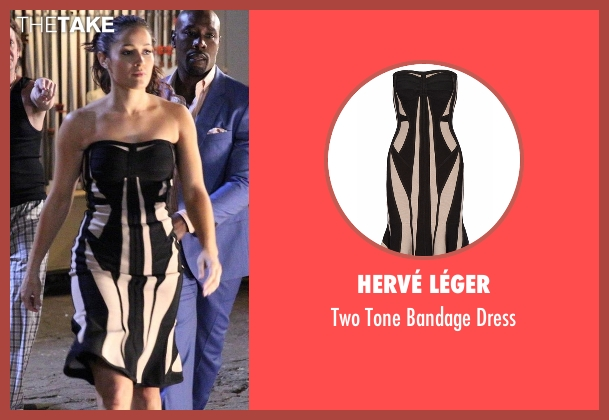 Hervé Léger black dress from Rosewood seen with Det. Annalise Villa (Jaina Lee Ortiz)