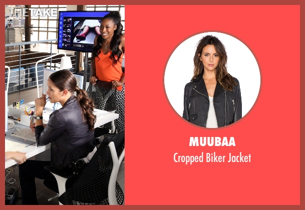 Muubaa black jacket from Rosewood seen with Det. Annalise Villa (Jaina Lee Ortiz)