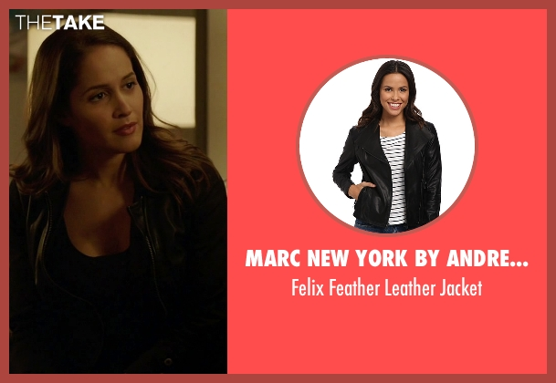 Marc New York By Andrew Marc black jacket from Rosewood seen with Det. Annalise Villa (Jaina Lee Ortiz)