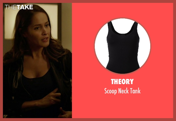 Theory black tank from Rosewood seen with Det. Annalise Villa (Jaina Lee Ortiz)