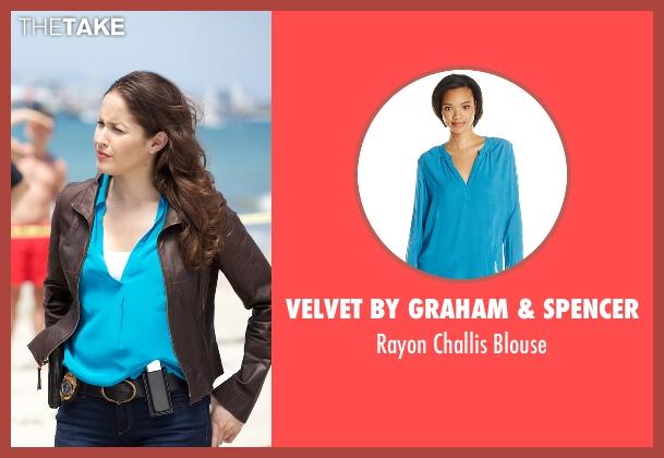 Velvet By Graham & Spencer blue blouse from Rosewood seen with Det. Annalise Villa (Jaina Lee Ortiz)
