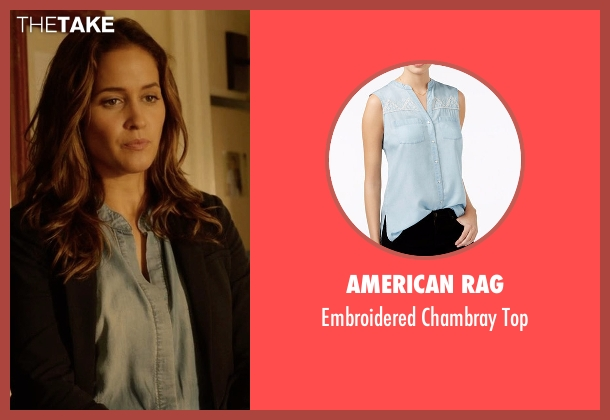 American Rag blue top from Rosewood seen with Det. Annalise Villa (Jaina Lee Ortiz)