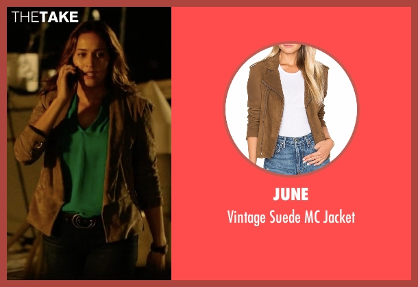 June brown jacket from Rosewood seen with Det. Annalise Villa (Jaina Lee Ortiz)