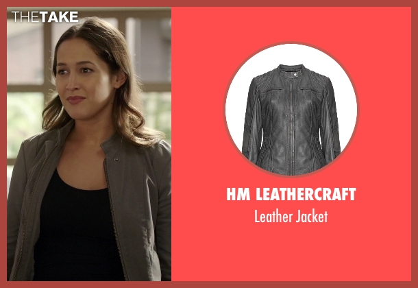 HM Leathercraft gray jacket from Rosewood seen with Det. Annalise Villa (Jaina Lee Ortiz)