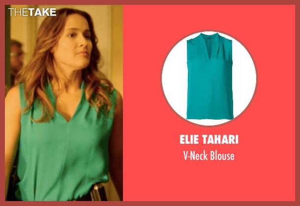 Elie Tahari green blouse from Rosewood seen with Det. Annalise Villa (Jaina Lee Ortiz)