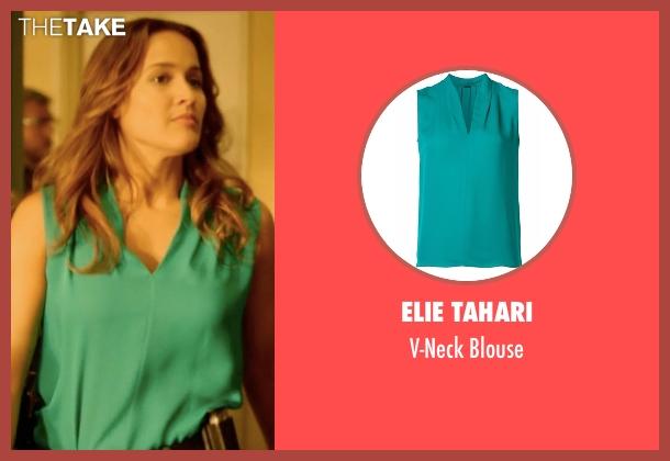 Elie Tahari green blouse from Rosewood seen with Det. Annalise Villa (Jaina Lee Ortiz)