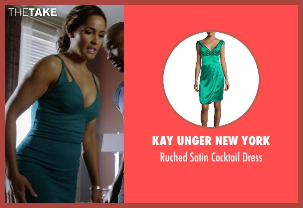 Kay Unger New York green dress from Rosewood seen with Det. Annalise Villa (Jaina Lee Ortiz)