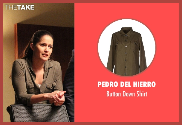 Pedro Del Hierro green shirt from Rosewood seen with Det. Annalise Villa (Jaina Lee Ortiz)