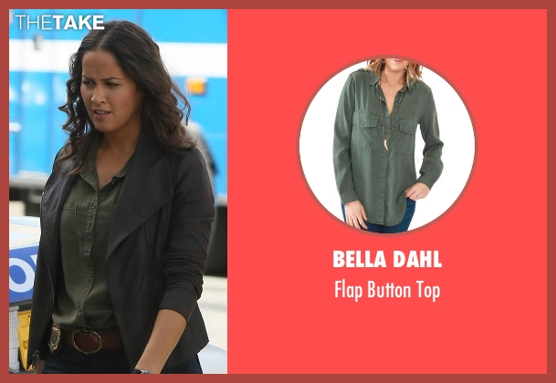 Bella Dahl green top from Rosewood seen with Det. Annalise Villa (Jaina Lee Ortiz)
