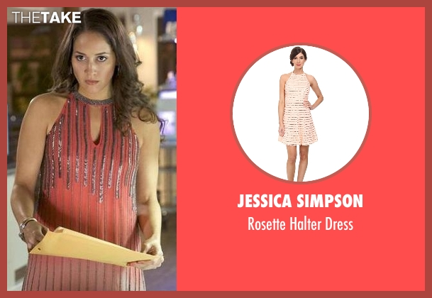 Jessica Simpson pink dress from Rosewood seen with Det. Annalise Villa (Jaina Lee Ortiz)