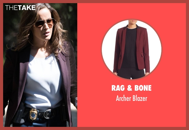 Rag & Bone red blazer from Rosewood seen with Det. Annalise Villa (Jaina Lee Ortiz)