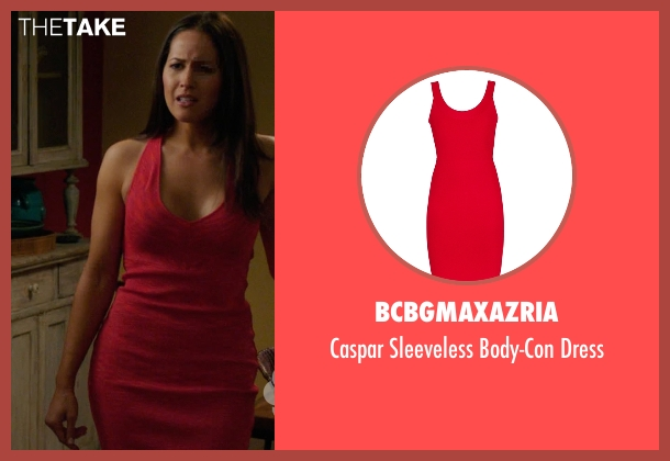BCBGMaxazria red dress from Rosewood seen with Det. Annalise Villa (Jaina Lee Ortiz)
