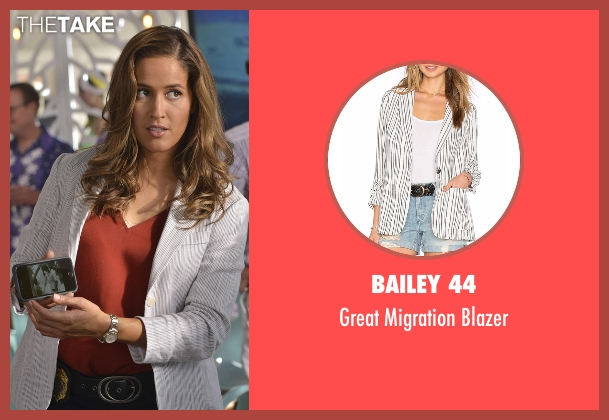Bailey 44 white blazer from Rosewood seen with Det. Annalise Villa (Jaina Lee Ortiz)