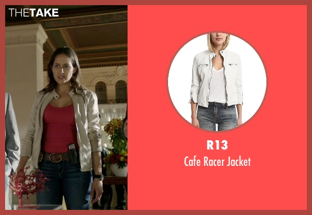 R13 white jacket from Rosewood seen with Det. Annalise Villa (Jaina Lee Ortiz)
