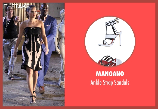 Mangano white sandals from Rosewood seen with Det. Annalise Villa (Jaina Lee Ortiz)