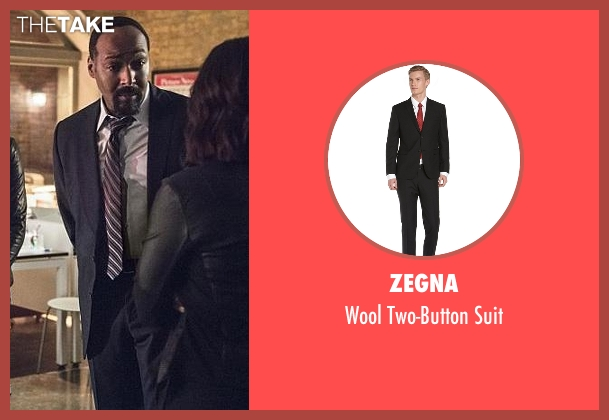 Zegna black suit from The Flash seen with Detective Joe West (Jesse L. Martin)