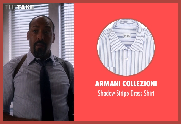 Armani Collezioni blue shirt from The Flash seen with Detective Joe West (Jesse L. Martin)