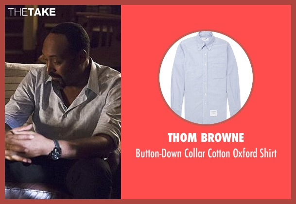 Thom Browne blue shirt from The Flash seen with Detective Joe West (Jesse L. Martin)