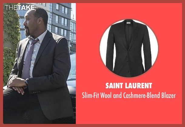 Saint Laurent gray blazer from The Flash seen with Detective Joe West (Jesse L. Martin)