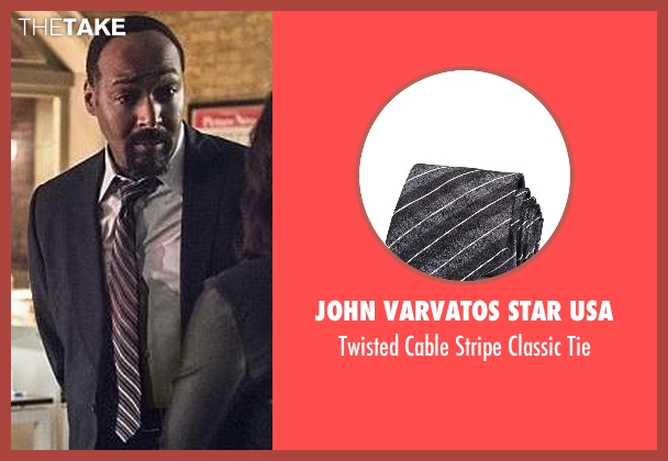 John Varvatos Star USA gray tie from The Flash seen with Detective Joe West (Jesse L. Martin)