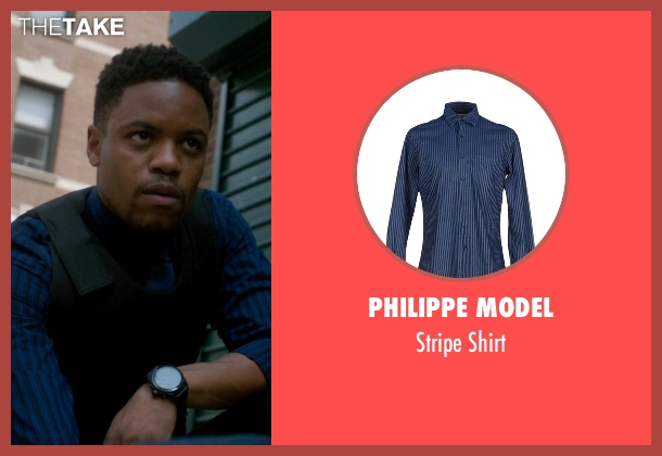 Philippe Model blue shirt from Elementary seen with Detective Marcus Bell (Jon Michael Hill)