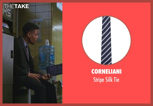 Corneliani blue tie from Elementary seen with Detective Marcus Bell (Jon Michael Hill)