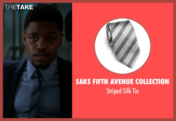 Saks Fifth Avenue Collection gray tie from Elementary seen with Detective Marcus Bell (Jon Michael Hill)