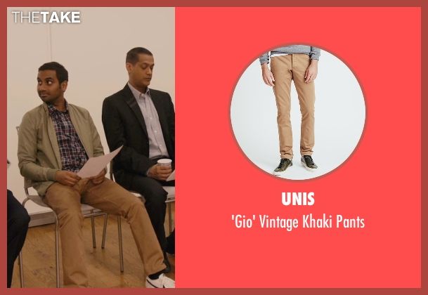 Unis beige pants from Master of None seen with Dev (Aziz Ansari)