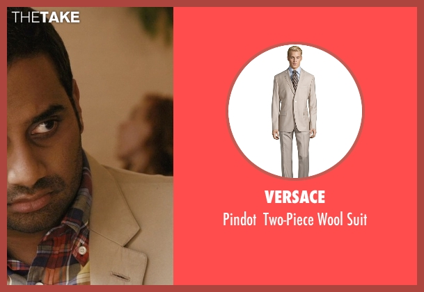 Versace beige suit from Master of None seen with Dev (Aziz Ansari)