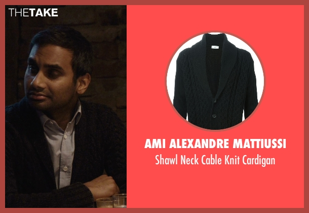 Ami Alexandre Mattiussi black cardigan from Master of None seen with Dev (Aziz Ansari)