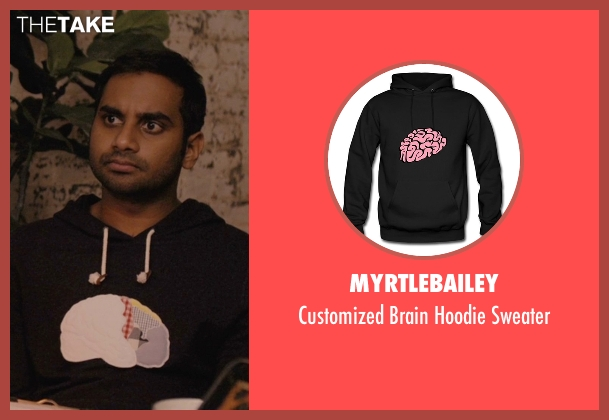 MyrtleBailey black sweater from Master of None seen with Dev (Aziz Ansari)