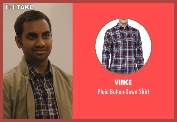 Vince blue shirt from Master of None seen with Dev (Aziz Ansari)