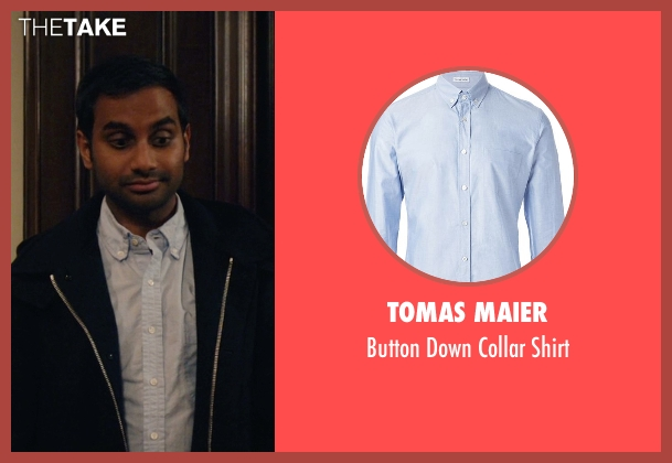 Tomas Maier blue shirt from Master of None seen with Dev (Aziz Ansari)