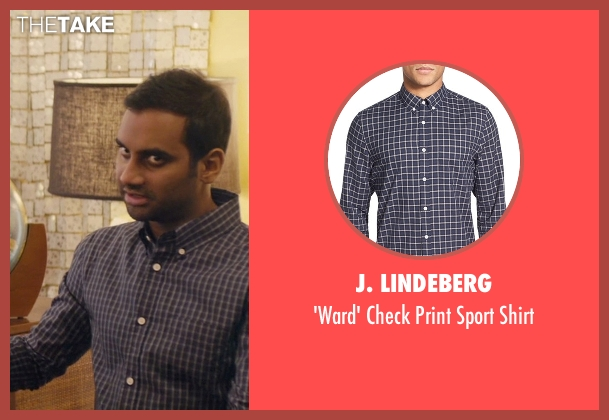 J. Lindeberg blue shirt from Master of None seen with Dev (Aziz Ansari)