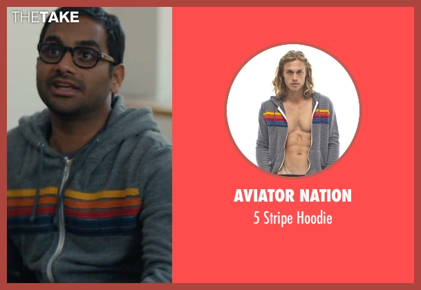 Aviator Nation gray hoodie from Master of None seen with Dev (Aziz Ansari)
