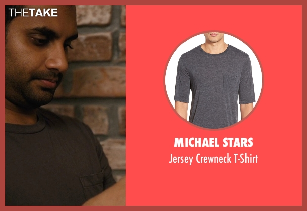 Michael Stars gray t-shirt from Master of None seen with Dev (Aziz Ansari)