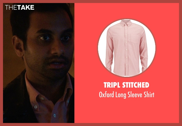 Tripl Stitched pink shirt from Master of None seen with Dev (Aziz Ansari)