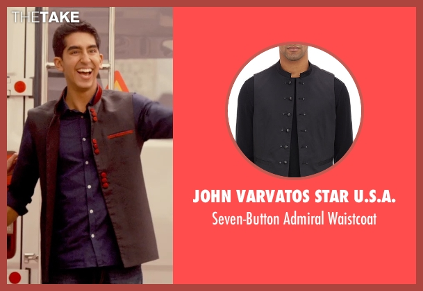 John Varvatos Star U.S.A. black waistcoat from The Second Best Exotic Marigold Hotel seen with Dev Patel (Sonny Kapoor)
