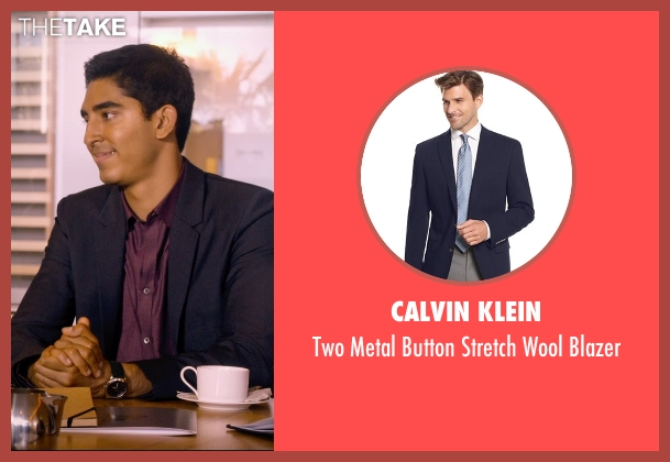 Calvin Klein blue blazer from The Second Best Exotic Marigold Hotel seen with Dev Patel (Sonny Kapoor)