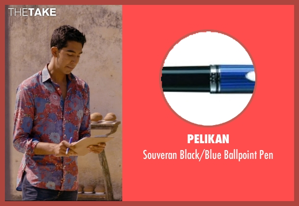 Pelikan blue pen from The Second Best Exotic Marigold Hotel seen with Dev Patel (Sonny Kapoor)