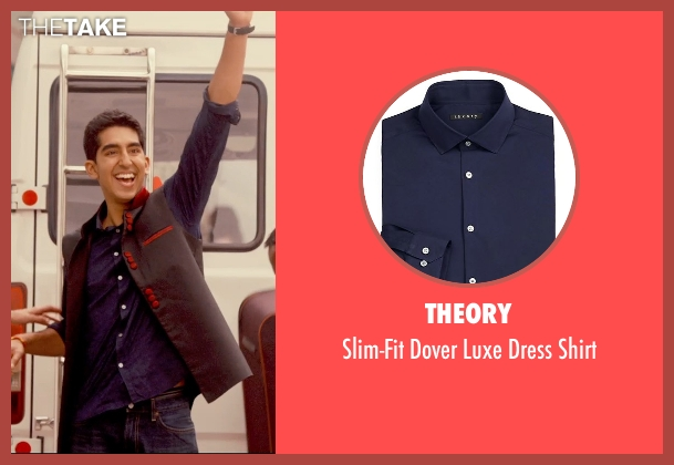 Theory blue shirt from The Second Best Exotic Marigold Hotel seen with Dev Patel (Sonny Kapoor)