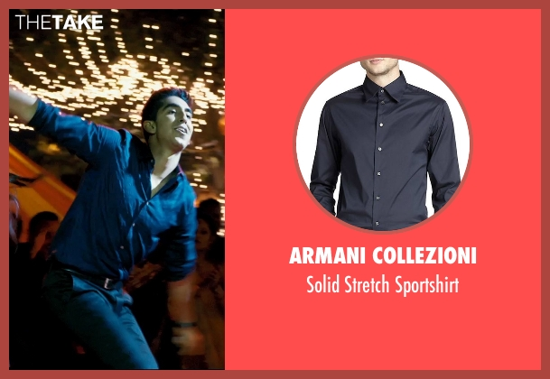 Armani Collezioni blue sportshirt from The Second Best Exotic Marigold Hotel seen with Dev Patel (Sonny Kapoor)