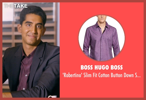 Boss Hugo Boss purple shirt from The Second Best Exotic Marigold Hotel seen with Dev Patel (Sonny Kapoor)