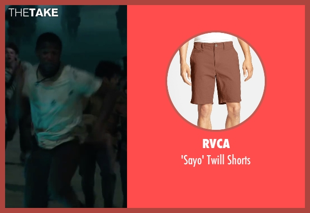 RVCA brown shorts from Maze Runner: The Scorch Trials seen with Dexter Darden (Frypan)