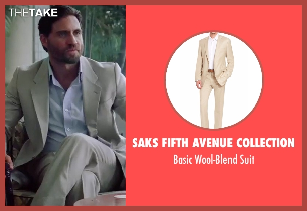 Saks Fifth Avenue Collection beige suit from Gold seen with Édgar Ramírez (Michael Acosta)