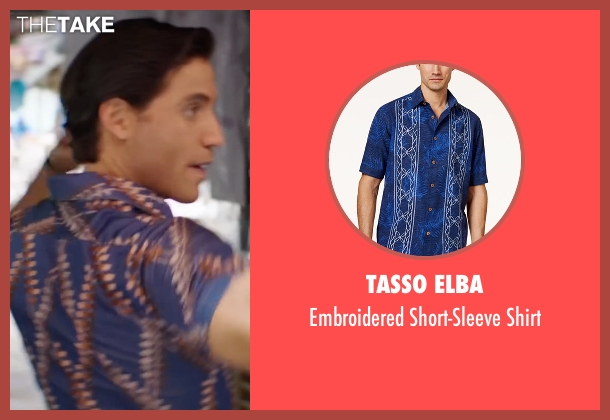 Tasso Elba blue shirt from Hands of Stone seen with Édgar Ramírez (Roberto Duran)