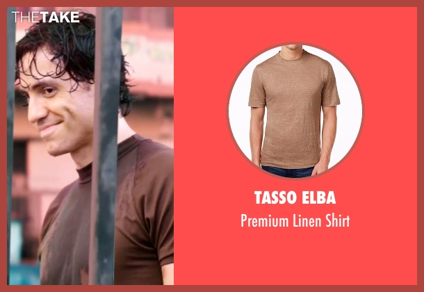 Tasso Elba brown shirt from Hands of Stone seen with Édgar Ramírez (Roberto Duran)