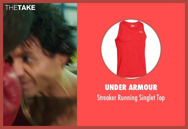 Under Armour red top from Hands of Stone seen with Édgar Ramírez (Roberto Duran)