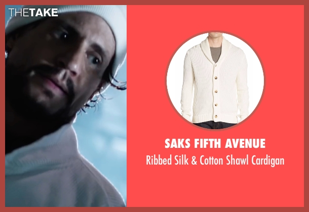 Saks Fifth Avenue white cardigan from Hands of Stone seen with Édgar Ramírez (Roberto Duran)